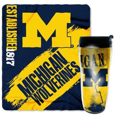 Collegiate Michigan 2 Piece Fleece Throw and Travel Mug Set