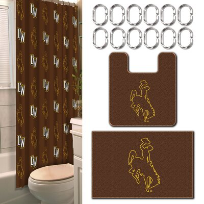 NCAA 15 Piece Shower Curtain Set NCAA Team: University of Wyoming