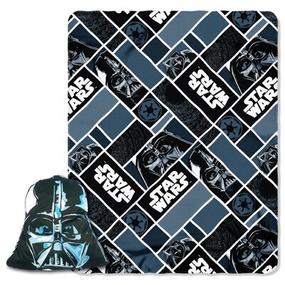 Star Wars Classic Big Mask Darth Vader 2 Piece Fleece Throw and Pillow Set