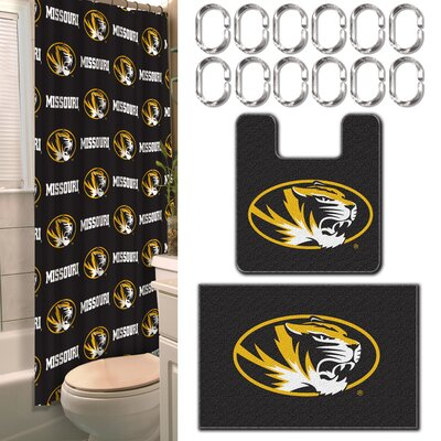 NCAA 15 Piece Shower Curtain Set NCAA Team: University of Missouri, Columbia