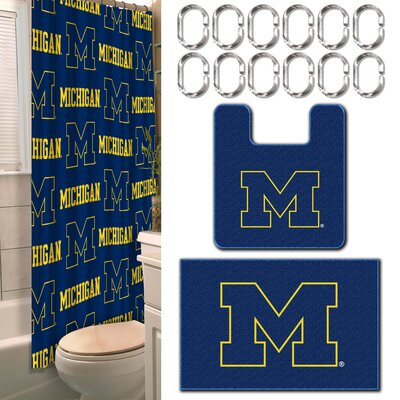 NCAA 15 Piece Shower Curtain Set NCAA Team: University of Michigan