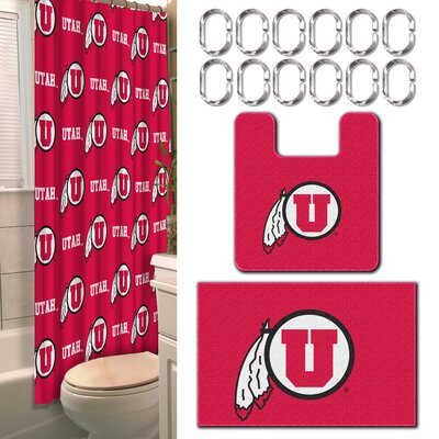 NCAA 15 Piece Shower Curtain Set NCAA Team: University of Utah