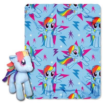 My Little Pony Rainbow Dash 2 Piece Fleece Throw and Hugger Pillow Set