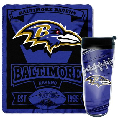NFL Ravens 2 Piece Fleece Throw and Travel Mug Set