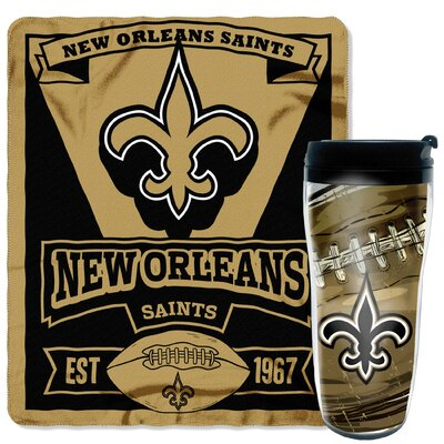 NFL Saints 2 Piece Fleece Throw and Travel Mug Set