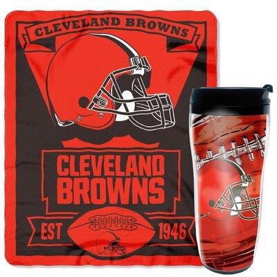 NFL Browns 2 Piece Fleece Throw and Travel Mug Set