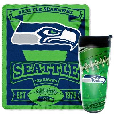 NFL Seahawks 2 Piece Fleece Throw and Travel Mug Set