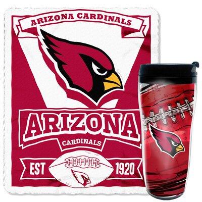 NFL Cardinals 2 Piece Fleece Throw and Travel Mug Set