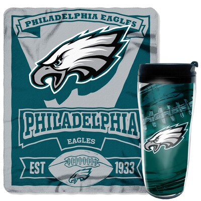 NFL Eagles 2 Piece Fleece Throw and Travel Mug Set