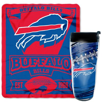 NFL Bills 2 Piece Fleece Throw and Travel Mug Set