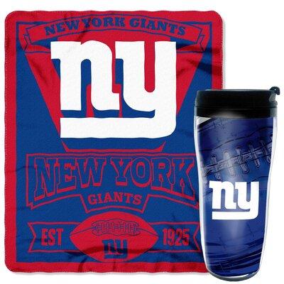 NFL New York Giants 2 Piece Fleece Throw and Travel Mug Set
