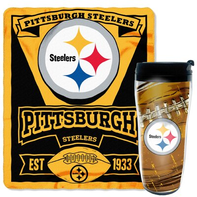 NFL Steelers 2 Piece Fleece Throw and Travel Mug Set