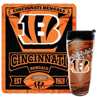NFL Bengals 2 Piece Fleece Throw and Travel Mug Set