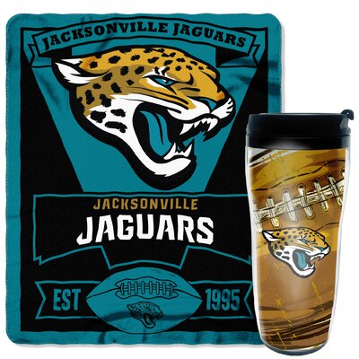 NFL Jaguars 2 Piece Fleece Throw and Travel Mug Set
