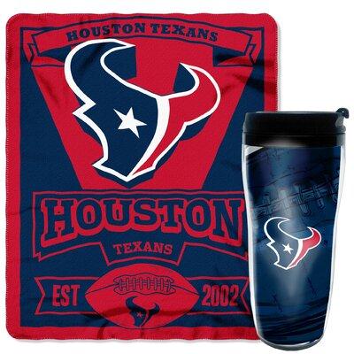 NFL Texans 2 Piece Fleece Throw and Travel Mug Set