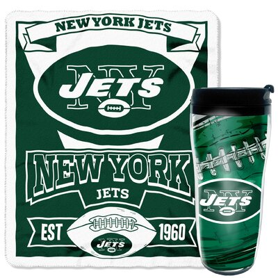 NFL Jets 2 Piece Fleece Throw and Travel Mug Set