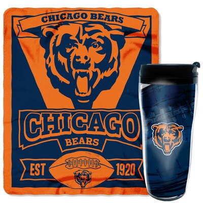 NFL Bears 2 Piece Fleece Throw and Travel Mug Set