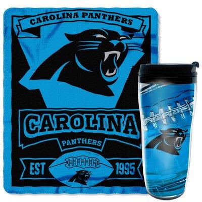 NFL Panthers 2 Piece Fleece Throw and Travel Mug Set