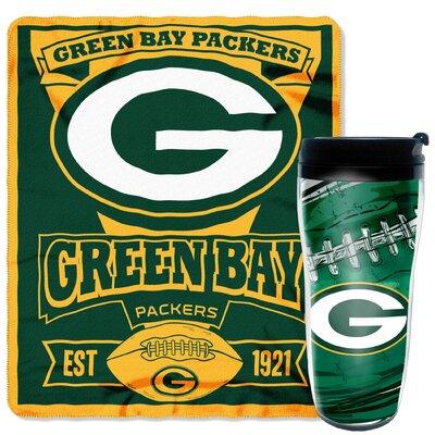 NFL Packers 2 Piece Fleece Throw and Travel Mug Set