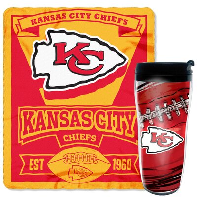 NFL Chiefs 2 Piece Fleece Throw and Travel Mug Set