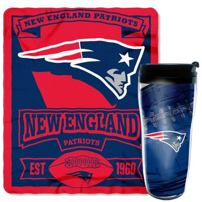 NFL Patriots 2 Piece Fleece Throw and Travel Mug Set