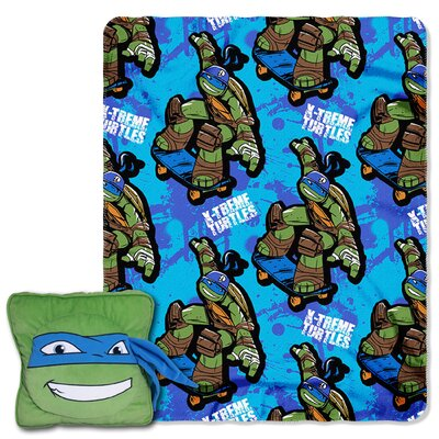 TMNT Leo Maxin 2 Piece Fleece Throw and Pillow Set