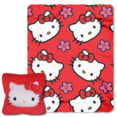 Hello Kitty Kitty Flowers 2 Piece Fleece Throw and Pillow Set