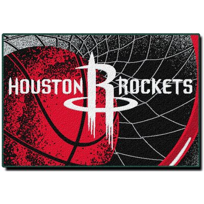 NBA Rockets Red/Black Area Rug
