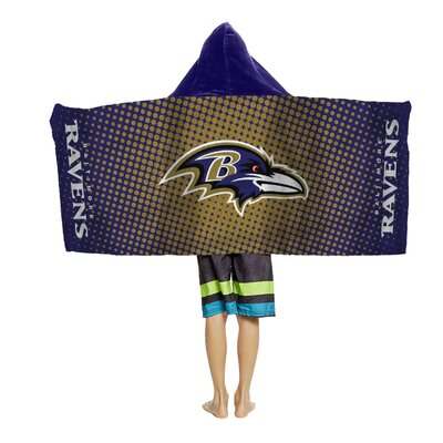 NFL Youth Hooded Beach Towel NFL Team: Baltimore Ravens