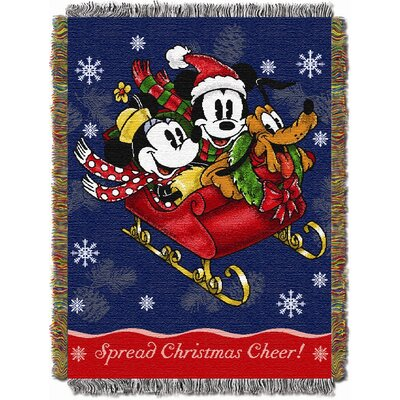 Entertainment Holiday Mickey Mouse Sleigh Ride Tapestry Throw