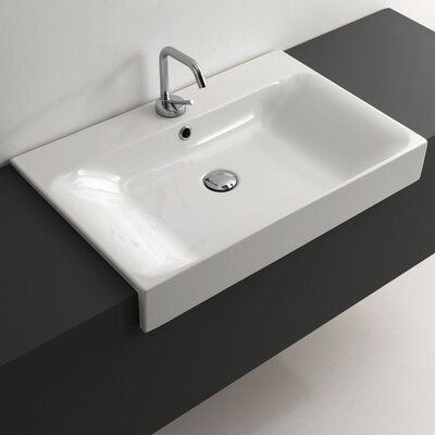 Cento Ceramic Rectangular Vessel Bathroom Sink with Overflow