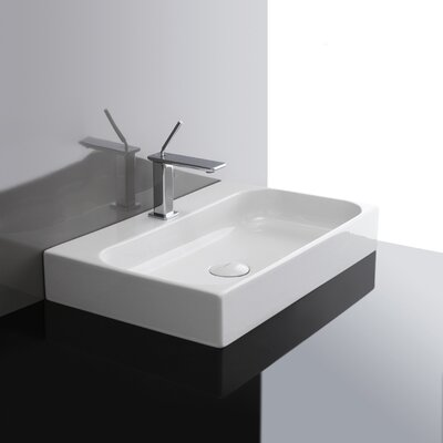 Unit Ceramic 24 Wall Mount Bathroom Sink with Overflow Faucet Drilling: Single Hole