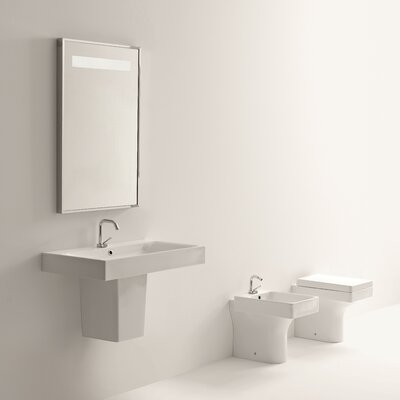 Cento Ceramic 48 Semi Pedestal Bathroom Sink with Faucet and Overflow