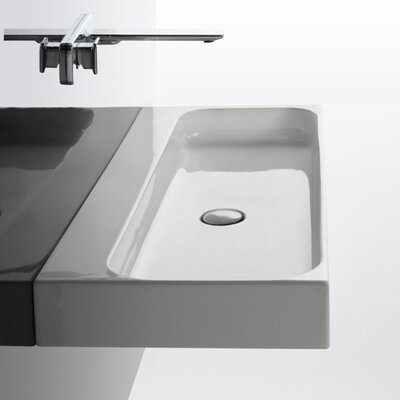 Unit Ceramic 40 Wall Mount Bathroom Sink with Overflow Faucet Drilling: Single Hole