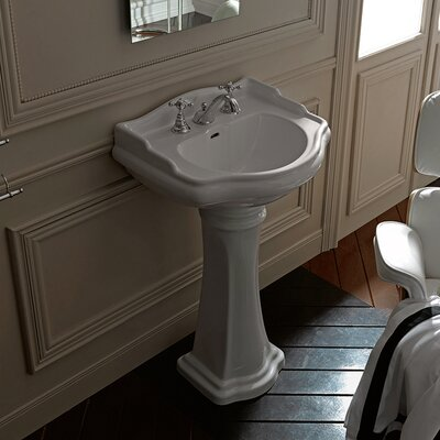 Retro 27 Pedestal Bathroom Sink with Overflow Faucet Drilling: Three Hole