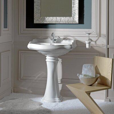 Retro Ceramic 28 Pedestal Bathroom Sink Faucet Drilling: Three Hole