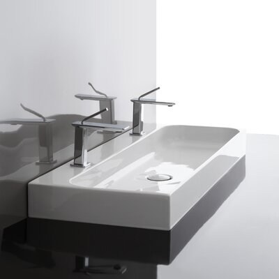 Unit Ceramic Rectangular Vessel Bathroom Sink with Overflow Faucet Drilling: Two Hole