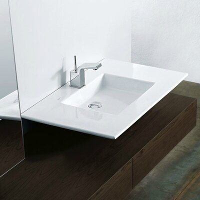 Techno Ceramic Rectangular Vessel Bathroom Sink with Faucet