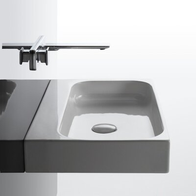 Unit Ceramic 32 Wall Mount Bathroom Sink with Overflow Faucet Drilling: No Hole