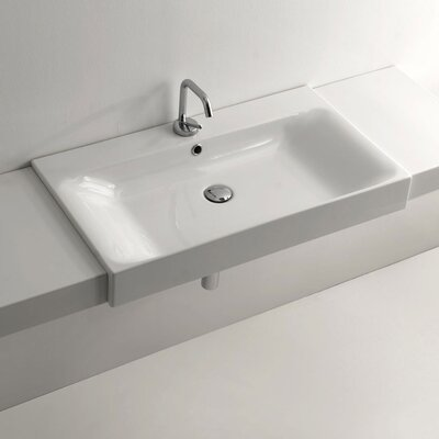 Cento Ceramic Semi-Recessed Rectangular vessel Bathroom Sink with Overflow