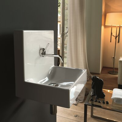 Cento Ceramic 16Wall mountedBathroom Sink with Overflow