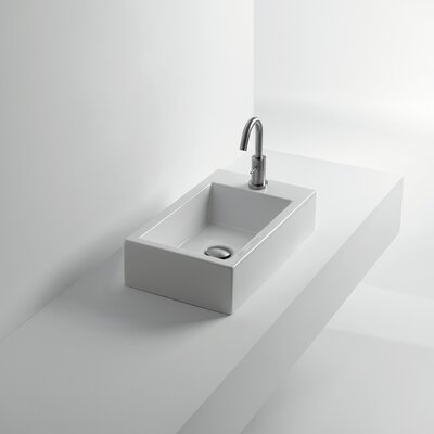 Whitestone Hox Rectangular Vessel Bathroom Sink with Overflow