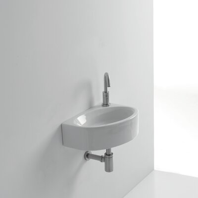 Mega Ceramic 17 Wall Mount Bathroom Sink with Overflow
