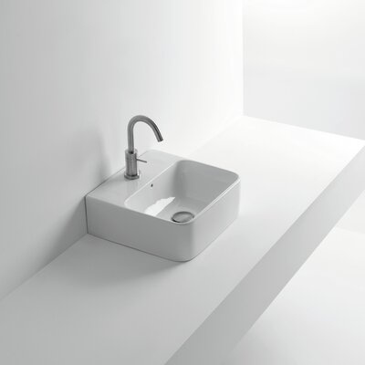 Normal Ceramic 14 Wall Mount Bathroom Sink with Overflow