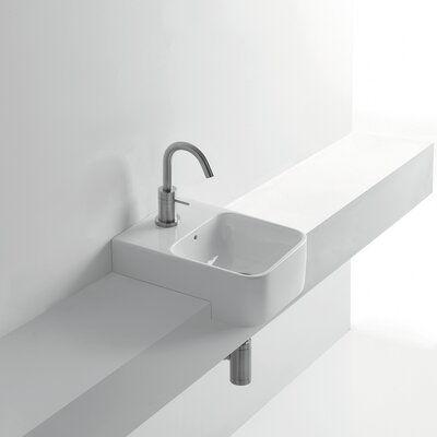 Normal Ceramic Square Vessel Bathroom Sink with Overflow