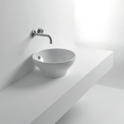 Whitestone Ceramic Circular Vessel Bathroom Sink with Overflow