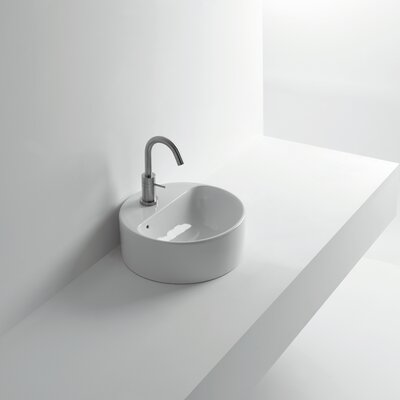 Normal Ceramic Circular Vessel Bathroom Sink with Overflow