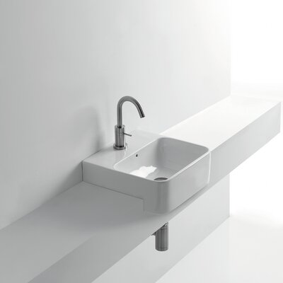 Normal Rectangular Vessel Bathroom Sink with Overflow