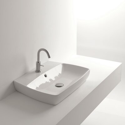 H10 Ceramic 24 Wall Mount Bathroom Sink with Overflow