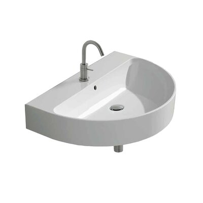 Normal Ceramic 24 Wall Mount Bathroom Sink with Overflow